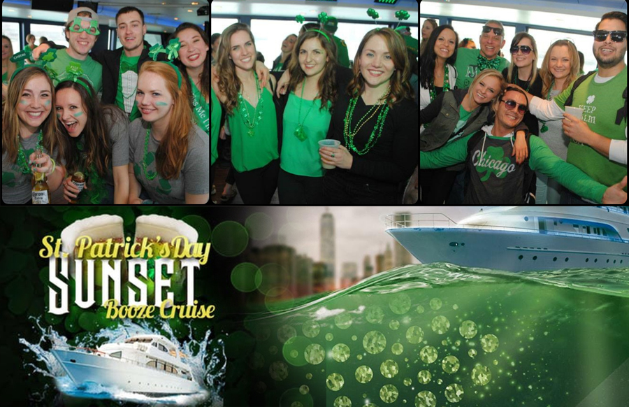 NYC St. Patricks Sunset Booze Cruise Yacht Party at Skyport Marina Jewel Yacht Tickets Party | GametightNY.com