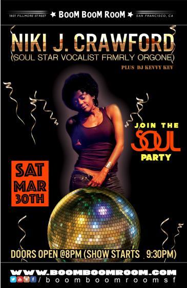 Niki J. Crawford Band (SoulStar vocalist frmrly Orgone)+RAFA: Main Image