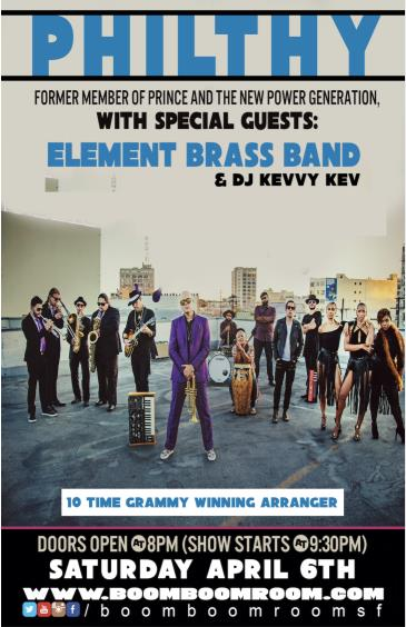 PHILTHY [Prince] + ELEMENT BRASS BAND, DJ Kevvy Kev: Main Image