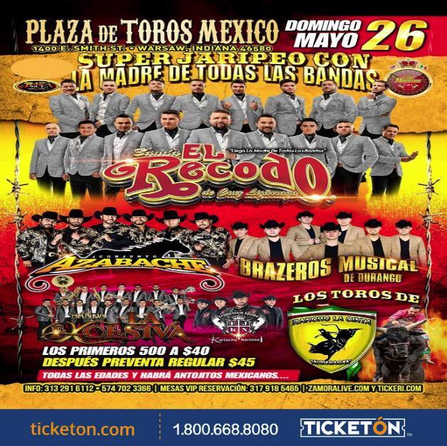 Banda El Recodo Warsaw Tickets Boletos Plaza De Toros Mexico