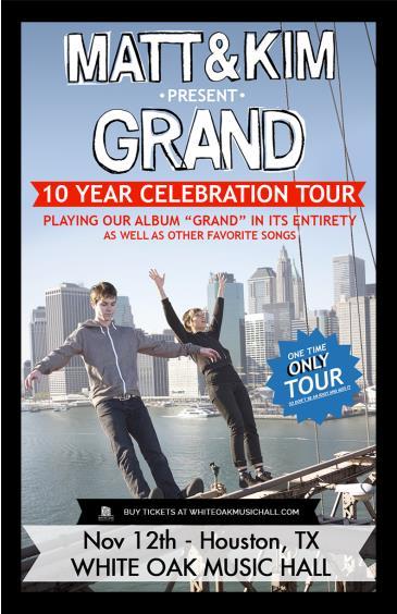 Matt and Kim present Grand - 10 Year Celebration Tour: Main Image