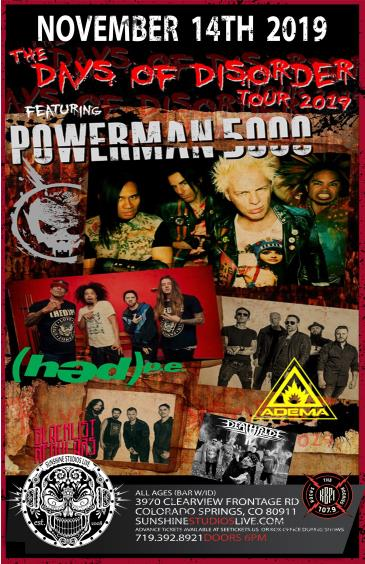 Powerman 5000,  Hed PE,  Adema & DeathRide: Main Image