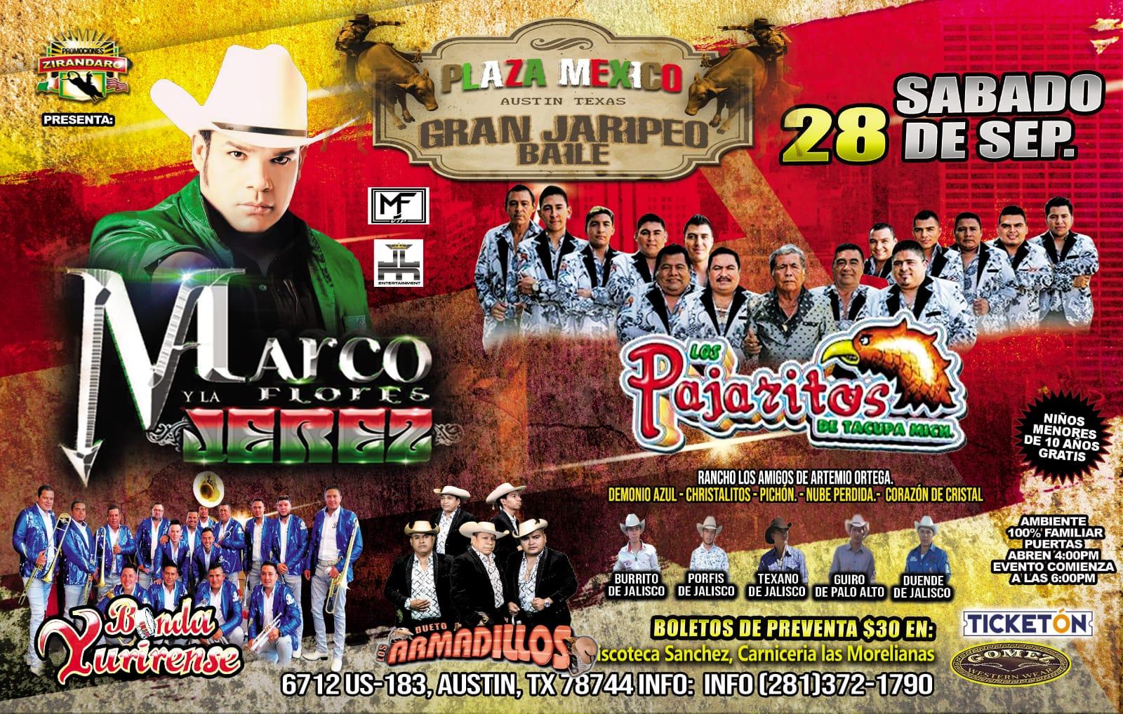 1 BANDA JEREZ Y PAJARITOS Tickets - The PLAZA MEXICO AUSTIN