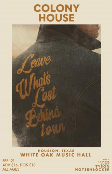 Colony House: Leave What's Lost Behind Tour: Main Image