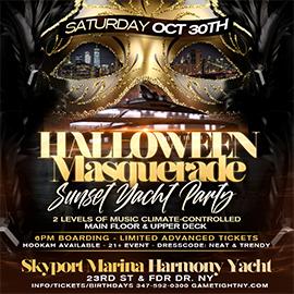 NYC Halloween Masquerade Saturday Sunset Yacht Party Skyport Marina Harmony | GametightNY.com