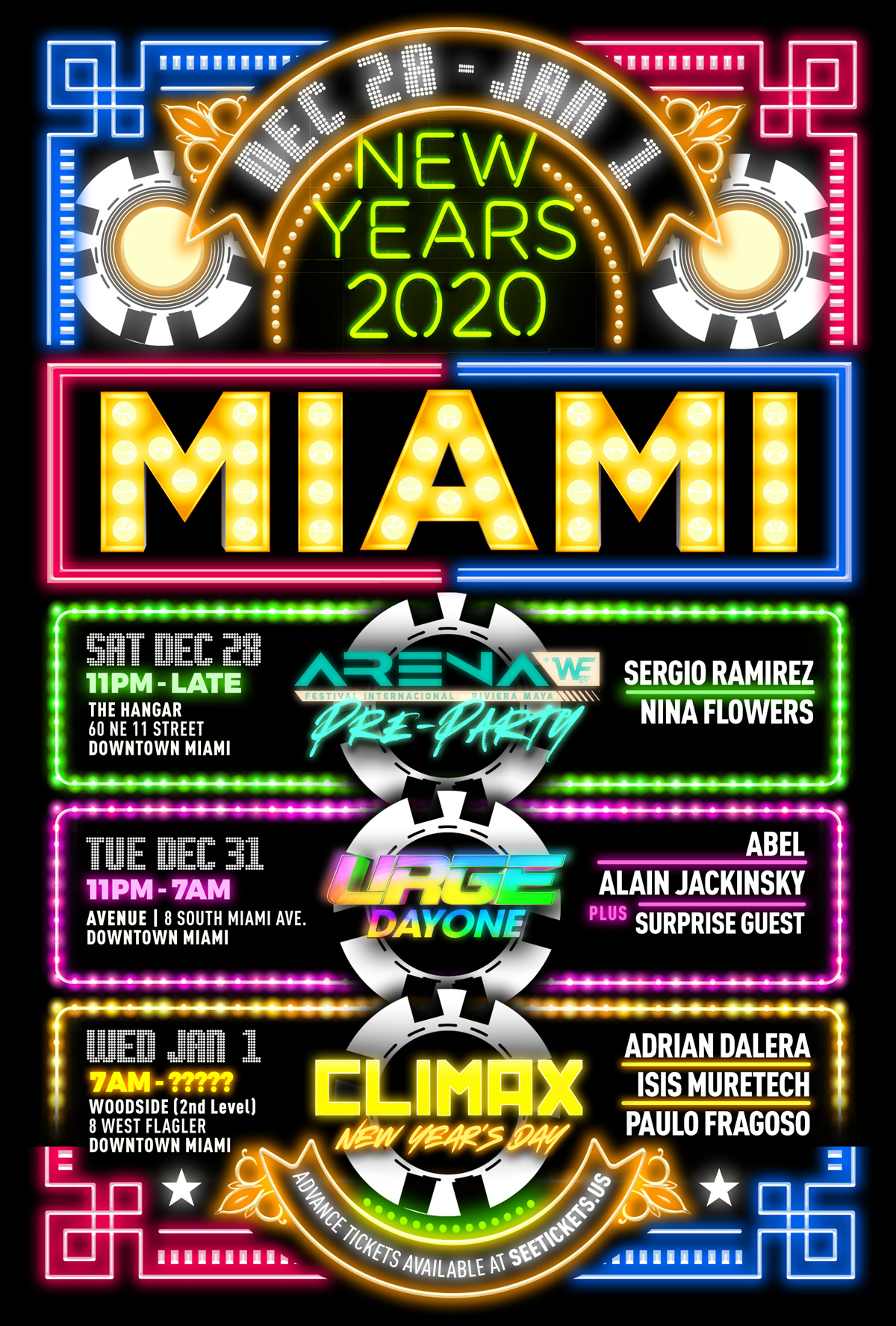 Buy Tickets to Miami New Years 2020 on Dec 28, 2019 - Jan 01,2020