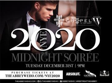 Abbey Weho (Gay Bar) Midnight Soiree NYE 2020:
