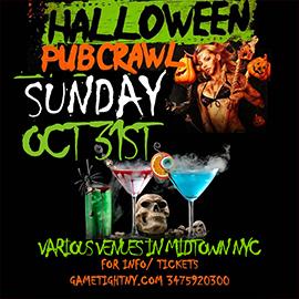 NYC Halloween Pub Crawl 2021 only $15 | GametightNY.com