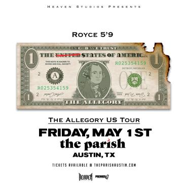 """Royce 5'9"""" - The Allegory US Tour (POSTPONED TBA): Main Image"""