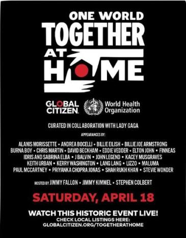 LIVE - ONE WORLD TOGETHER AT HOME: Main Image
