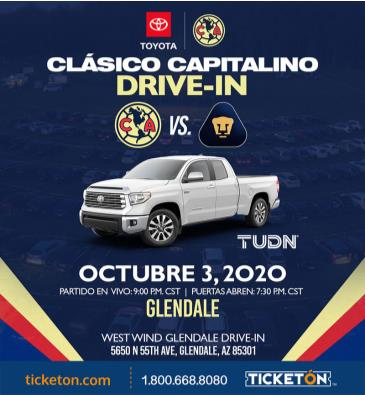 AMERICA VS PUMAS DRIVE-IN VIEWING EVENT - PHOENIX: Main Image