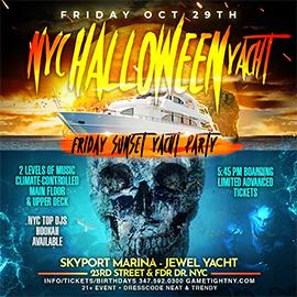 NYC Halloween Friday Sunset Ghost Yacht Cruise Skyport Marina Jewel Yacht | GametightNY.com