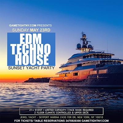 EDM Techno House Sunset Cruise 5/23 Yacht Party at Skyport Marina Jewel Yacht Tickets Party | GametightNY.com