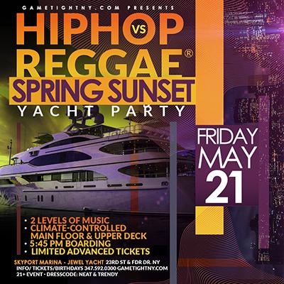 NYC Hip Hop vs Reggae® NYC Sunset Cruise Skyport Marina Jewel Yacht Tickets Party | GametightNY.com