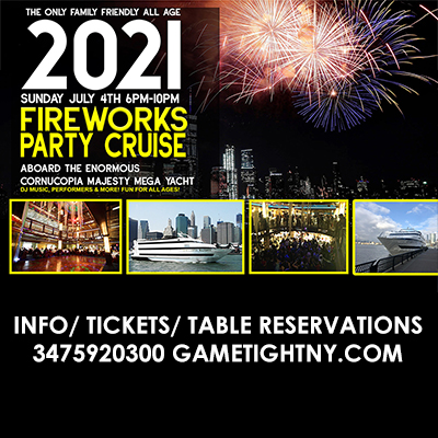 July 4th NYC ALL AGES Sunset Fireworks Show Yacht Cruise Pier 40 Cornucopia Tickets Party | GametightNY.com