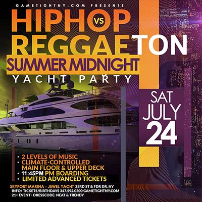 Reggaeton Hip Hop NYC Midnight Cruise Skyport Marina Jewel Yacht Tickets Party | GametightNY.com