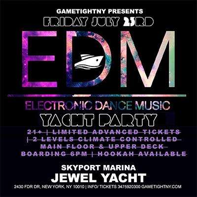 EDM Techno House Sunset Cruise Yacht Party at Skyport Marina Jewel Yacht Tickets Party | GametightNY.com