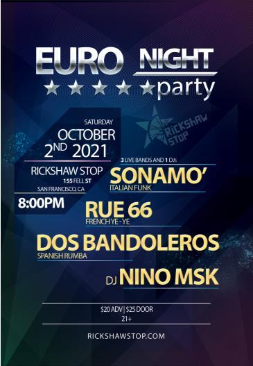 EURO NIGHT PARTY w/ Sonamo, Rue 66, & Dos Bandol (CANCELLED):