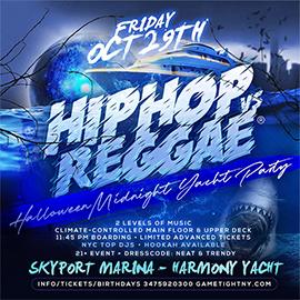 NY HipHop vs Reggae® Halloween Friday Midnight SkyportMarina Harmony Yacht | GametightNY.com