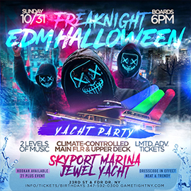 NYC Freaknight EDM Halloween Sunday Sunset Cruise Skyport Marina Jewel | GametightNY.com