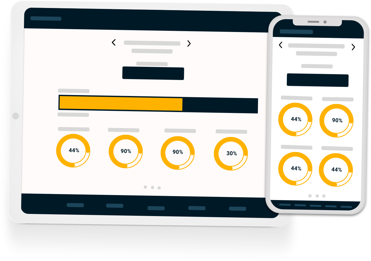 Mobile Reporting Dashboard Phone and Tablet Illustration